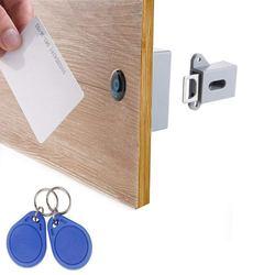 Niewidoczne ukryte RFID bez otwierania inteligentny czujnik zamek szafki szafka szafa szafka na buty szuflada drzwi zamek elektroniczny Da w Zamki do szafek od Majsterkowanie na