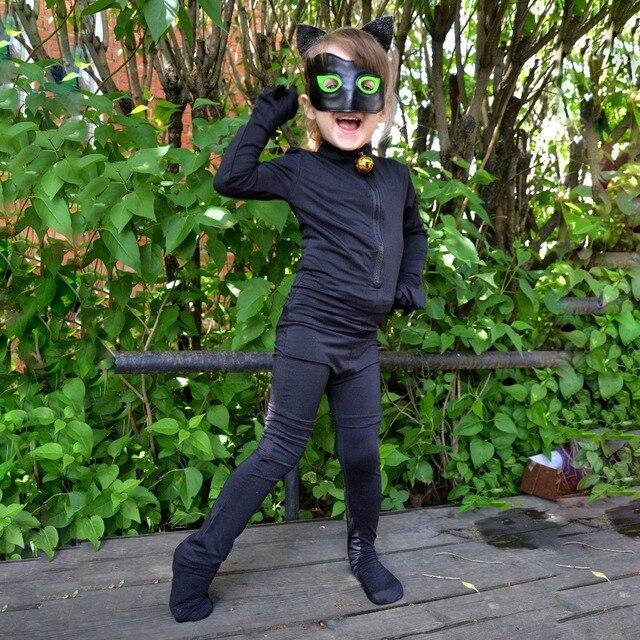 0c38725c2586 New 2019 Lady bug Cosplay kids Girls Ladybug Black Cat Noir Boys Costumes  Jumpsuit Adrien Marinette Superhero Halloween Cosplay