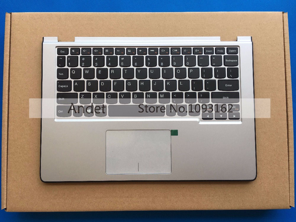 95 New Original for Lenovo Yoga 2 11 Palmrest Cover Upper Case + Keyboard with Touchpad Silver 90204958 AP0T5000200 new original for lenovo thinkpad t460 palmrest keyboard bezel upper case with fpr tp fingerprint touchpad 01aw302