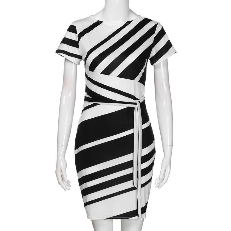 HTB1eoZDtKuSBuNjy1Xcq6AYjFXah KANCOOLD dress Summer fashion Women's Working Pencil Stripe Party Casual O-Neck Mini high quality dress women 2018MA27