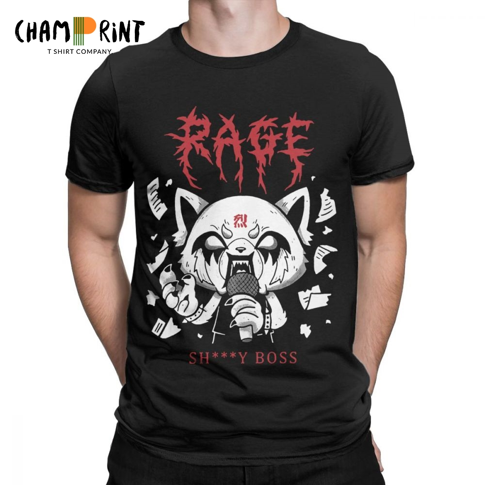 Men Aggretsuko Aggressive Retsuko Karaoke Rage Mood   T     Shirt   Pure Cotton Tops Unique Short Sleeve Tees Plus Size   T  -  Shirt