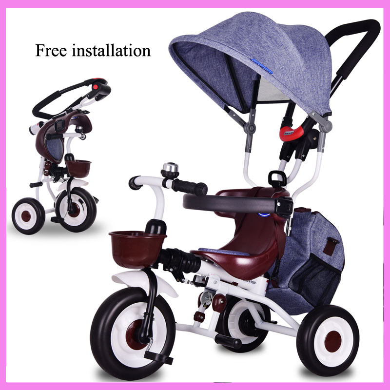 Baby Three Wheels Stroller Tricycle Bicycle Child Foldable Tricycle Bike Free Install Storage Bag Trolley Pushchair Car Pram portable baby toddle child tricycle bike trolley umbrella stroller pushchair pram buggy bicycle 6 m 5 y brand quality