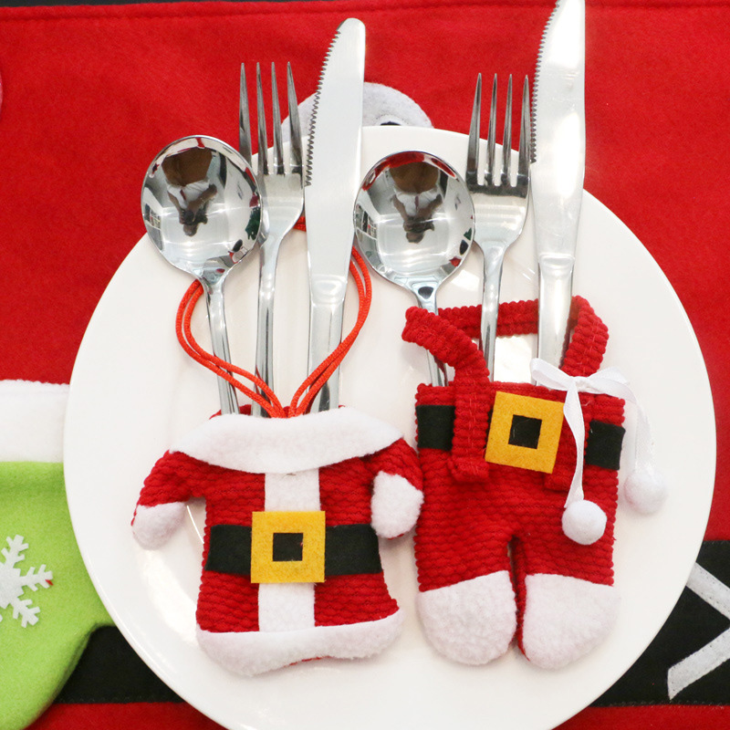 HAOCHU 6sets Cutlery Suit Merry Christmas Cloth Pant Shape Santa Restaurant Hotel Family Table Decor Knives and Forks Pockets