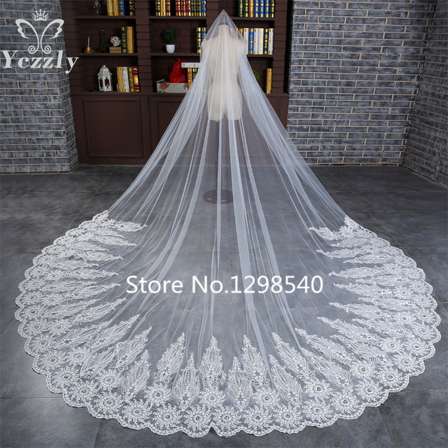 Luxury 3M White/Ivory Lace Edge Cathedral Wedding Veils Long One Layer Soft Tulle Applique Bridal Veils Voile Mariage WB30
