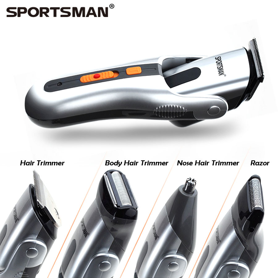 SPORTSMAN men electric hair cut set rechargable beard razor/nose &ear trimmer/epilator beauty shaver 8 in 1 grooming kit