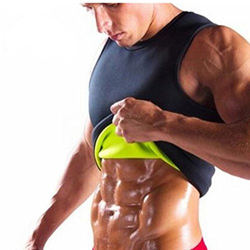 1aa3864a9f5f Sweat Vest for Men Weight Loss Neoprene Sauna Suit Body Shaper Tank Hot Top  Tummy Fat Slimming Shapewear Black No Zip