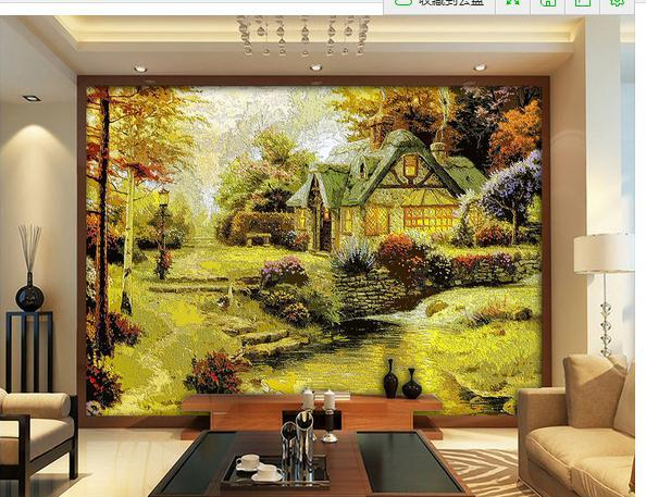 european rural autumn landscape painting video wall 3d