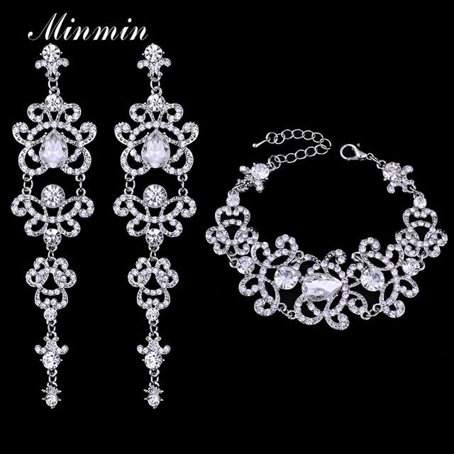 Minmin Crystal Bridal Jewelry Sets Butterfly Bracelet Earrings Sets Wedding African Beads Jewelry Set for Women EH166+SL032