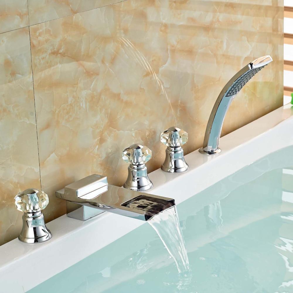 Chrome Bathroom Three Handles Waterfall Hand Shower Bathtub Tub Faucet Mixer Tap new wall mounted dual handles three holes led light bathroom tub faucet brushed nickle waterfall shower bathtub faucet mixer tap
