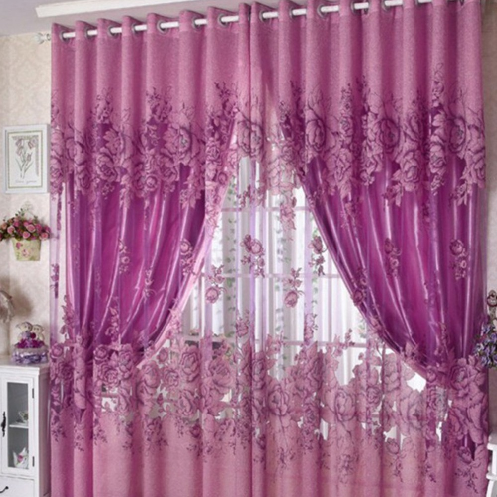 1 Pc Curtain And 1 Pc Tulle Peony Luxury Window Curtains: Online Get Cheap Satin Purple Curtains -Aliexpress.com