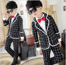 Джентльмен мальчики официальный пиджак костюмы 3шт шотландка пальто + брюки + рубашка + галстук-бабочка костюм свадьба день рождения дети мальчик комплект