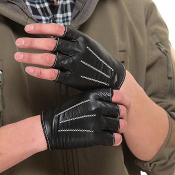 Darmowa wysyłka Kursheuel autentyczne mężczyźni jazdy lampskin skórzane rękawiczki bez palców 3 linie CYW1314 tanie i dobre opinie Dla dorosłych Moda Stałe Unisex Prawdziwej skóry Nadgarstek