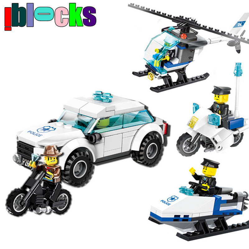 IBLOCKS City Police Buildng Toys Policeman Figures Car Motorcycle Helicopter Models Enlighten Brick Blocks Assembly Toy For Kids city series police car motorcycle building blocks policeman models toys for children boy gifts compatible with legoeinglys 26014