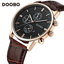 Mens Watches Top Brand Luxury Leather Strap Gold Watch Men Quartz-Watch clock men DOOBO Fashion Military Casual Sport Wristwatch