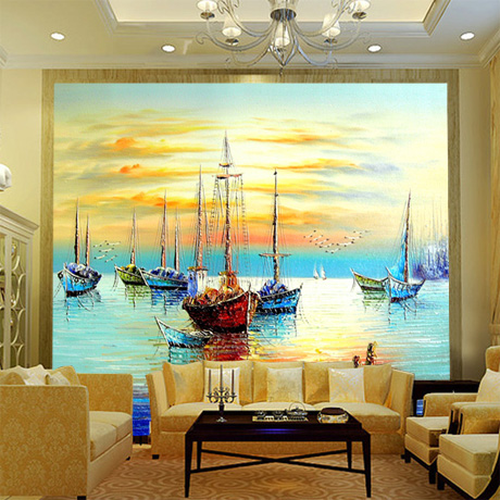 Lovely Large Mural Wallpaper , Dining Room Den Sofa Living Room TV Background  Wallpaper , Painting Smooth