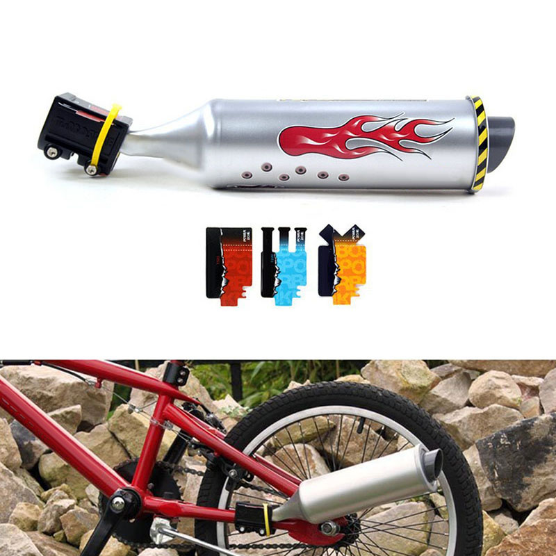 Bicycle Turbo Spoke Pipe Exhaust System Motorcycle Sounds Bike Engine Silver
