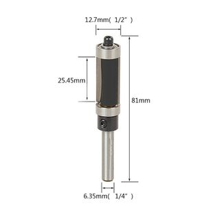 "Image 2 - Flush Trim Router Bit Top & Bottom Bearing 1"" H X 1/4 Shank Woodworking Tool"