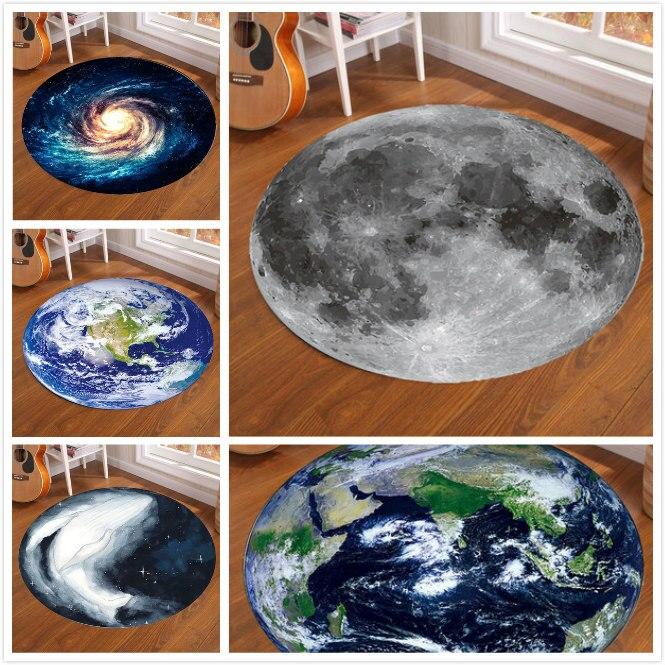 3D Galaxy Earth Moon Round Carpet Rug For Living Room Anti Slip Bedroom Carpet Kids Room Nordic Floor Rug Mat Home Decoration