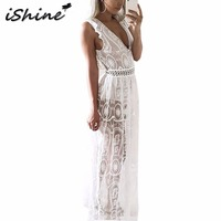 IShine Sexy Hollow Out White Lace Dress Women High Waist Sleeveless Backless Dress Elegant Deep V