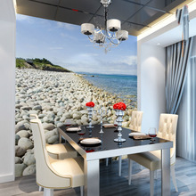Large Sea Cobblestone Stone 5D Papel and 3d Wall Mural Wallpaper