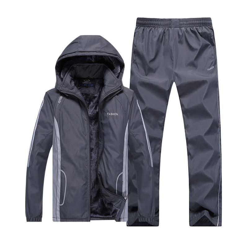 winter tracksuit men warm velvet sport suit velour sweatsuit two piece set men outfits jogging training track suit hoodie pants in Men 39 s Sets from Men 39 s Clothing