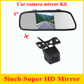 Nova promoção 2 in1 Universal carro de backup camera reversa car rear view estacionamento câmera de segurança + 5 polegada HD monitor do carro espelho