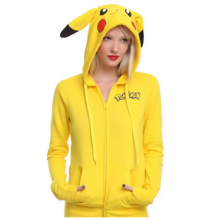 2017 Fashion Women Jacket Yellow Solid Pokemon Pikachu Printed Costume Tail Zip Totoro Hoodie Sweatshirt Sudaderas Mujer