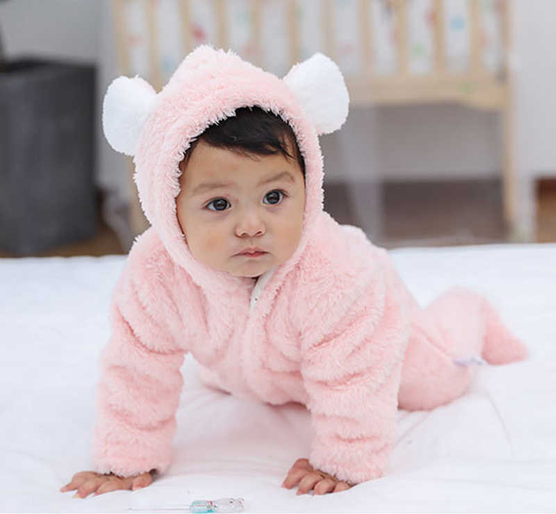 9a438df5659a ... new arrival Newborn baby winter rompers long sleeve toddler boys girls  Hairy jumpsuits for baby infant
