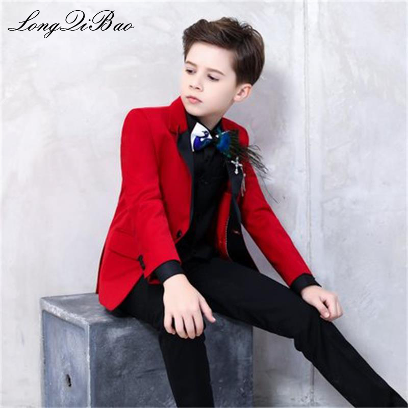Boutique show for the catwalk fashionable red suit for boys beautiful with floral pattern for toddlers Boys Show / performance f fashionable camouflage pattern corduroy jazz hat for men
