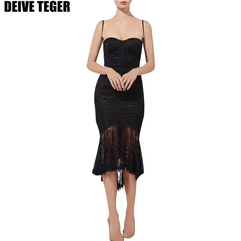 DEIVE TEGER 2018 Summer mesh off shoulder Sexy strapless woman black bandage Dress party Bodycon vestidoes dresses HL2988