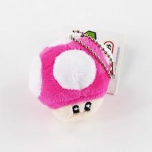 6CM 1pcs Super Mario Bros Mushroom Keychain Plush pendants toy Japan Anime Mini Mario Bros Luigi Yoshi free shipping