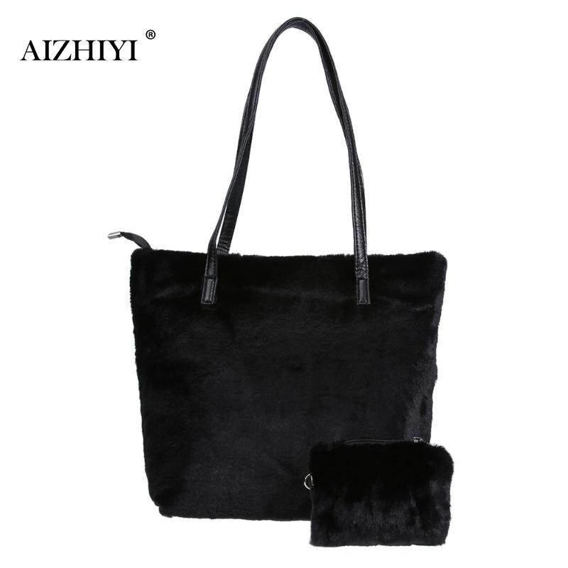 Women Fashion Soft Faux Fur Shoulder Bag Ladies Big Tote Bag Purses Handbags Female Winter Long Handle Handbag bolsos mujer faux fur duffle shoulder bag