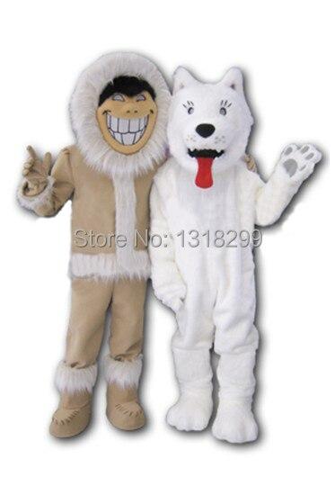 Mascotte Eskimos traîneau neige chien mascotte costume déguisement personnalisé fantaisie costume cosplay thème mascotte carnaval costume kits