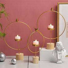 Round Candle Holder With Bird Nordic Style Iron Geometric Candle Metal Craft Decor Brackets Candlestick For Home Wedding(China)