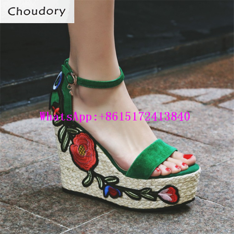Choudory New Super High Heels Wedges Platform Casual Buckle Strap Sweet Women Sandals Open Toe Dunk Low Embroidered Ethnic Shoes