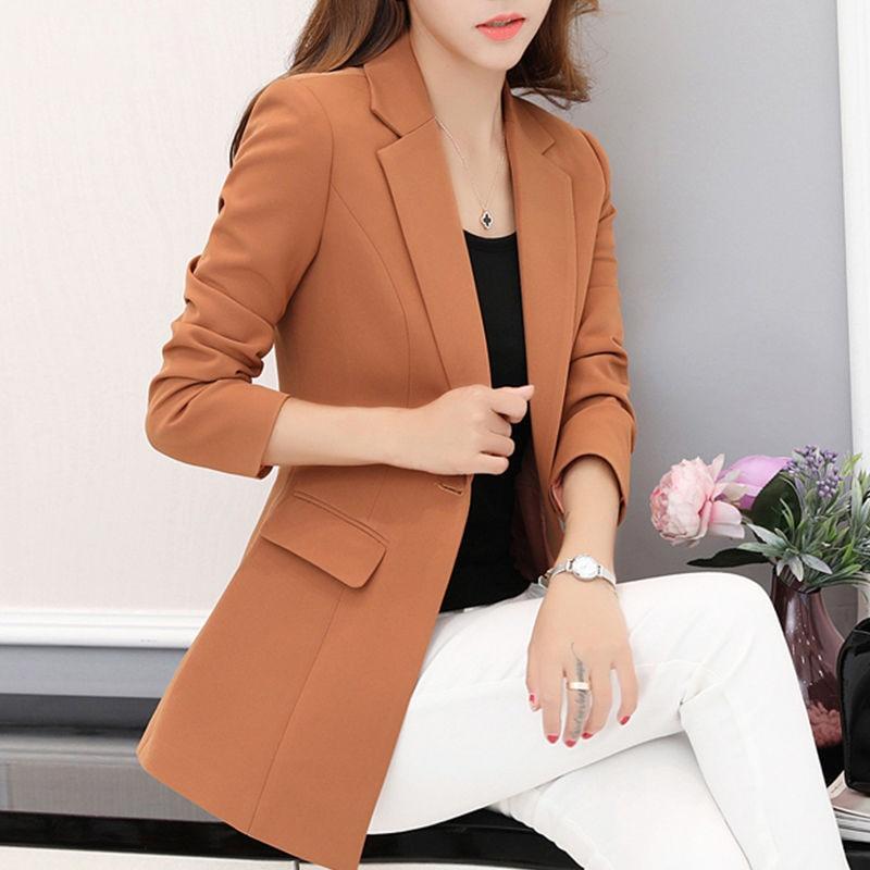 Solid Elegant Long Blezer Femenina Office Blazers Casual Oficina Mujer Basic Blazer Women Tops 2019 Autumn Fashion Femme Clothes