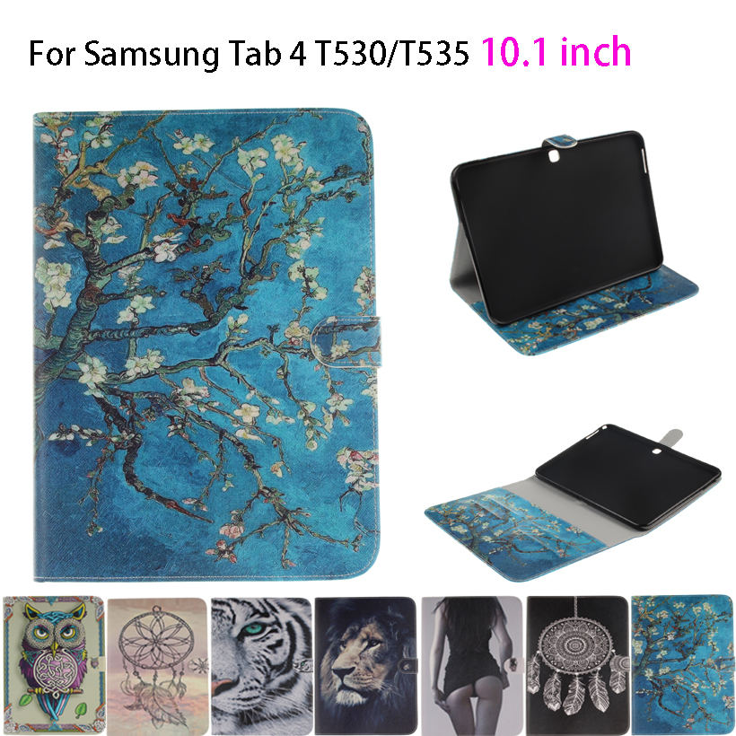 Tiger Owl Girls Painted Flip Silicone Leather Case For Samsung Galaxy Tab 4 10.1 T530 T531 T535 Case Cover Stand tablet Funda cartoon painted flower owl for kindle paperwhite 1 2 3 case flip bracket stand pu cover for amazon kindle paperwhite 1 2 3 case