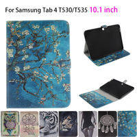 Tiger Owl Girls Painted Flip Silicone Leather Case For Samsung Galaxy Tab 4 10 1 T530