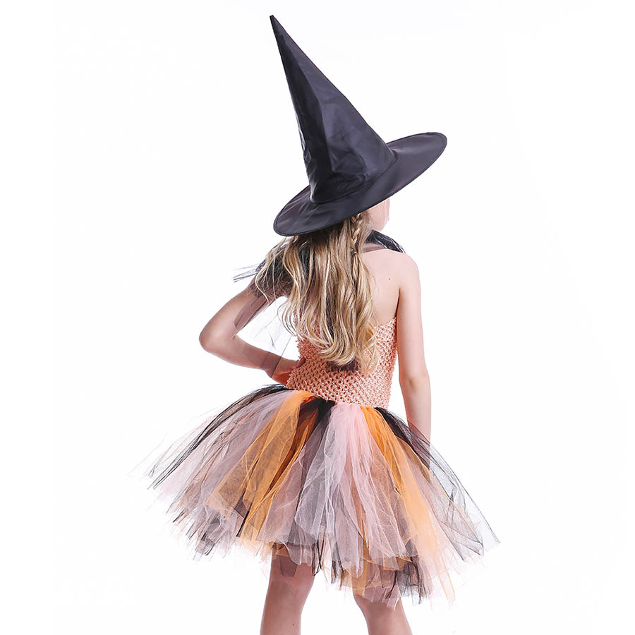 Girls Halloween Carnival Party Tutu Dress Kids Evil Witch Costume Photo Prop with Witch Hat  (9)