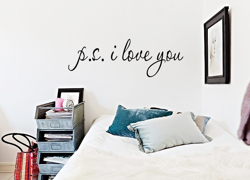 58*15cm PS I Love You Wall Art Decal Home Decor Famous & Inspirational Quotes Living Room Bedroom Removable Wall Stickers 8017 9