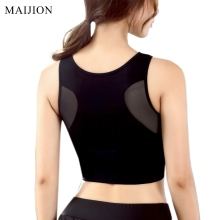 MAIJION Women Breathable Mesh Sports Bra Shockproof Padded Athletic Gym Running Bra Solid Seamless Fitness Yoga Sports Tops Vest