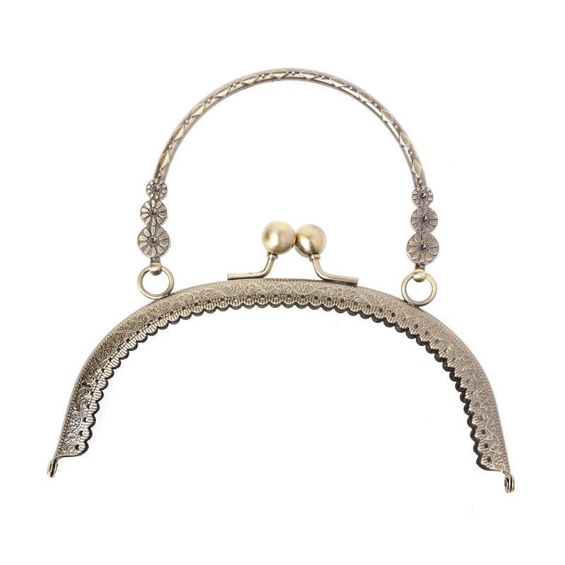 THINKTHENDO DIY Craft 16.5cm Metal Handbag Handle Frame Kiss Clasp Lock Handle Arch For DIY Purse Bag Fashion 2 Size New