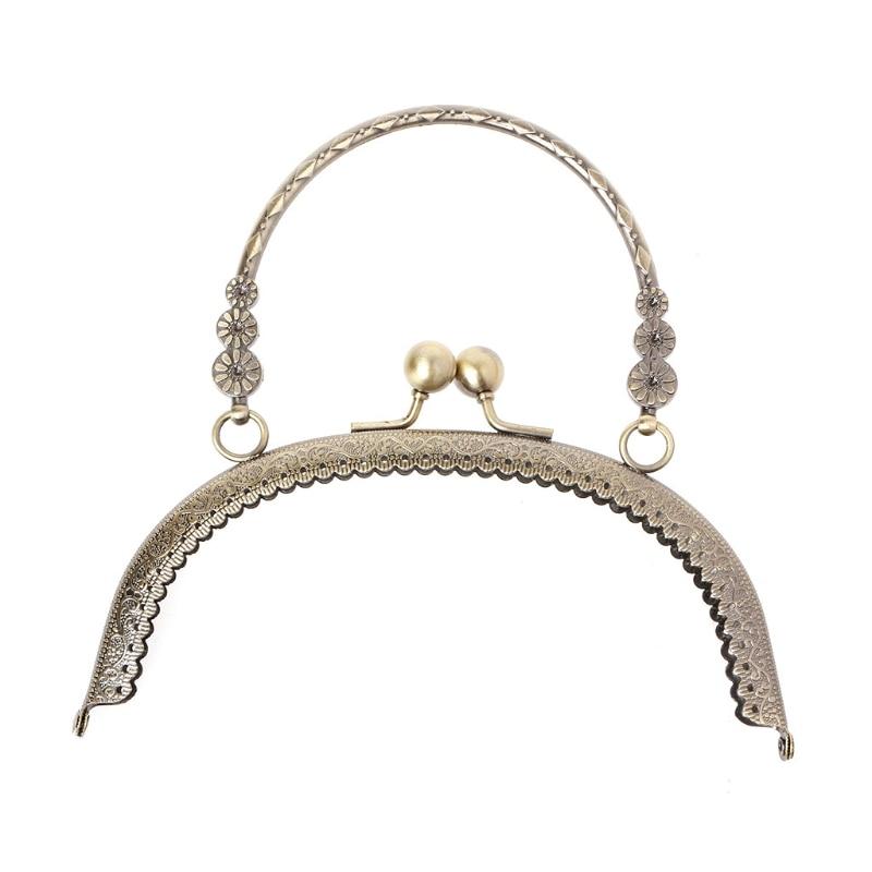 THINKTHENDO DIY Craft 16.5cm Metal Handbag Handle Frame Kiss Clasp Lock Handle Arch For DIY Purse Bag Fashion 2 Size New(China)