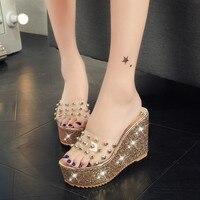 New Women Open Toe Wedges Sandals Women S Rivet Platform Sandals Fashion Summer Shoes Women Casual