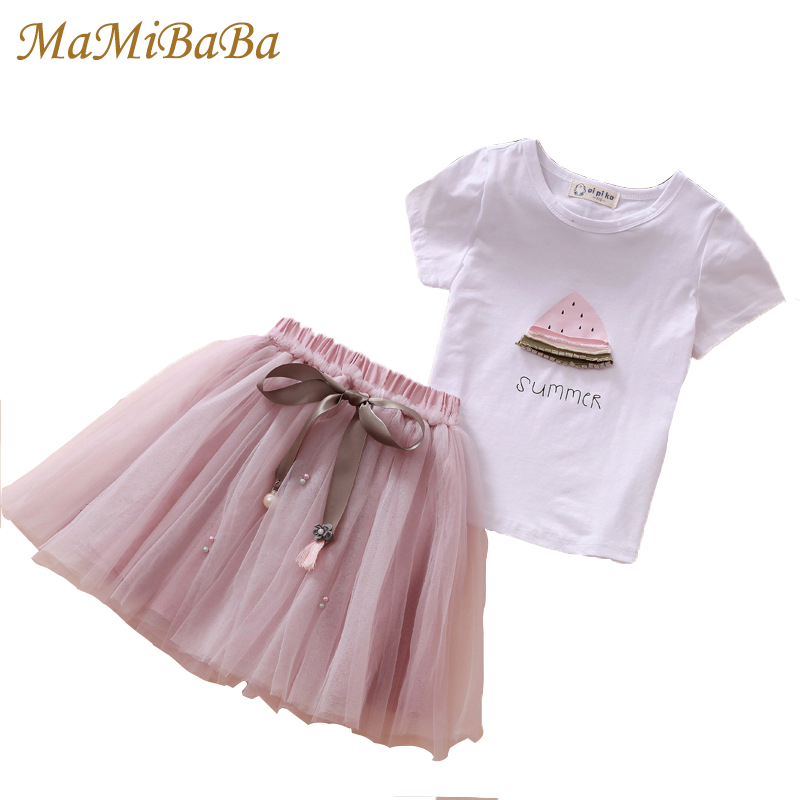 Girls Clothing Sets 2018 New Summer Children Dresses White Short T-shirt + Short Skirt 2pcs Suit O-neck Kids Child Clothes Cs319 2016 spring girls clothes girls clothing sets new arrival female child flower print o neck pullover short skirt set baby twinset