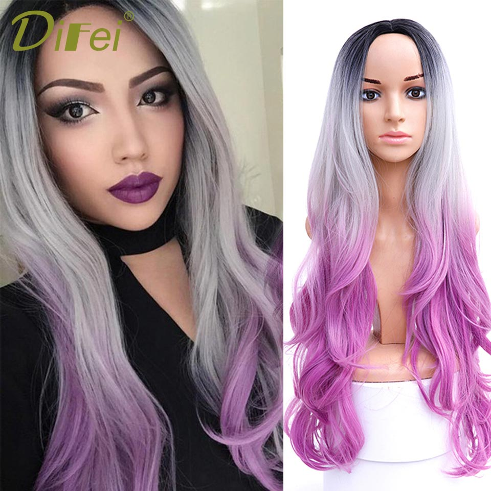 DIFEI Long Wavy Ombre Wig Middle Part Synthetic Wig Heat Resistant Dark Roots Three Tone Women Natural Hair Wigs