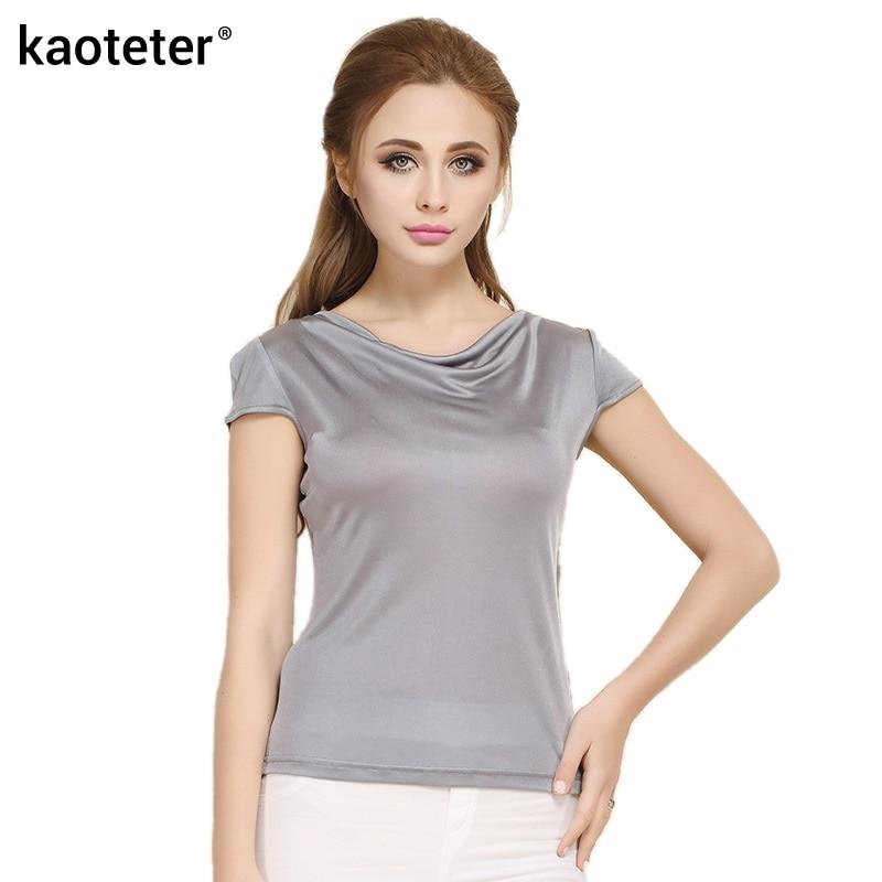 100% Saf İpək Qadın T-shirt Femme Yaz Qısa Qollu Qadın Dəri - Qadın geyimi - Fotoqrafiya 1