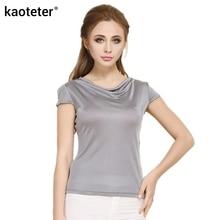 100% Pure Silk Women's T-Shirts Femme Summer Short Sleeve Tops Women Tees Shirt Female Cowl Collar Sleevelet Bottoming Shirts