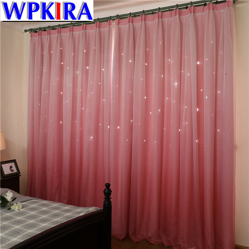 Tulle Cloth Korean Hollow Stars Children Room Pink Princess Blackout Curtains for Living Room Bedroom Finished