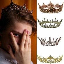 Baroque Pearl King Queen Diadema Crown Tiaras HeadPiece Rhinestone Prom Bridal Wedding Hair Accessories Jewelry coroa de noiva